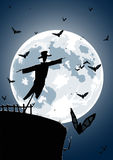 Vector Illustration Of Scarecrow With Full Moon Stock Photography
