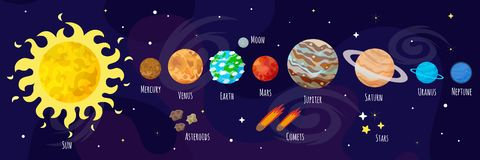 Free Vector Illustration Of Space, Universe. Cute Cartoon Planets, Asteroids, Comet, Rockets. Kids Illustration. Royalty Free Stock Images - 128784229