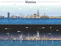 Free Vector Illustration Of Vienna City Skyline At Day And Night Royalty Free Stock Image - 128039806