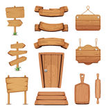 Vector Illustration Of Wooden Signboards, Doors, Plates And Other Different Shapes With Wood Texture Royalty Free Stock Images