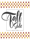 Offer poster with Handwritten lettering composition of Fall Sale. Vector illustration: Offer poster with Handwritten lettering composition of Fall Sale Royalty Free Stock Images