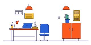 Modern interior.Vector illustration: Desk, computer, laptop, Desk lamp, wardrobe. Office furniture. Vector illustration office interior, office decor. Office stock illustration