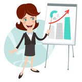 Vector Illustration of Office man presenting a graph on flip-cha Stock Photography