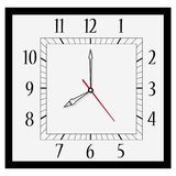 Square wall clock. Vector illustration office square clock. Classic black and white  wall clock isolated on white. Clock on wall shows eight o`clock Royalty Free Stock Photos