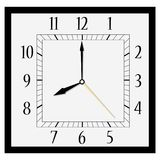 Square wall clock. Vector illustration office square clock. Classic black and white  wall clock isolated on white. Clock on wall shows eight o`clock Stock Photo