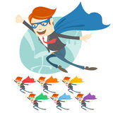 Vector Illustration of Office superman flying in front of his wo Royalty Free Stock Photos