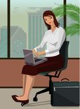 Vector illustration of a office woman with a laptop vector illustration