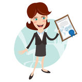 Vector Illustration of Office woman showing a diploma Stock Images