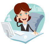 Vector Illustration of Office woman sitting at his working desk Royalty Free Stock Image