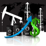 Vector illustration of oil barrel with red arrow Royalty Free Stock Photography