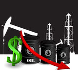 Vector illustration of oil barrel with red arrow Stock Photo