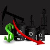 Vector illustration of oil barrel with red arrow Royalty Free Stock Photos