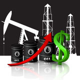 Vector illustration of oil barrel with red arrow Royalty Free Stock Image