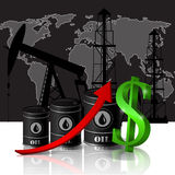 Vector illustration of oil barrel with red arrow Royalty Free Stock Photo