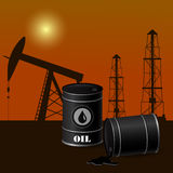 Vector illustration of  oil barrels Stock Image
