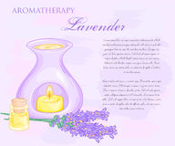 Vector illustration of oil burner with lavender flovers and essential oil Royalty Free Stock Image