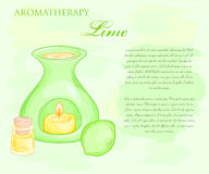 Vector illustration of oil burner with lime and essential oil Royalty Free Stock Images