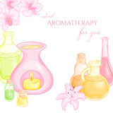 Vector illustration of oil burner with orchid and lily flowers, and set of essential oils Stock Photos