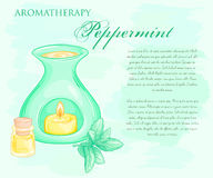 Vector illustration of oil burner with peppermint brunch and essential oil Stock Images