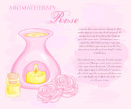 Vector illustration of oil burner with rose flovers and essential oil Stock Photos