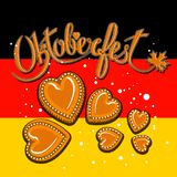 Vector Illustration of an Oktoberfest Design with Gingerbread Hearts on Germany Flag stock illustration