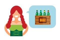 Vector illustration Oktoberfest german woman girl Royalty Free Stock Images