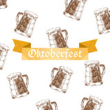 Vector illustration. Oktoberfest sign and brown beer mugs. Stock Photo