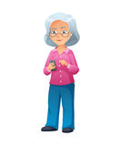 Vector illustration of an old active lady with glasses, who is dressed in jeans and shirt. She is standing and surfing Stock Image