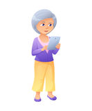 Vector illustration of an old active lady, who is dressed in jeans and cardigan. She is standing and surfing the Royalty Free Stock Photography