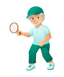 Vector illustration of an old active man with beard, who is dressed in a sport dress and sneakers. He is play tennis. Stock Photography