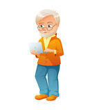 Vector illustration of an old active man with glasses, mustache and beard, who is dressed in jeans and cardigan. He is Royalty Free Stock Photos