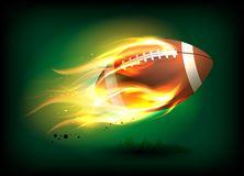 Vector illustration of an old classic leather rugby ball with laces and stitching in a fiery flame. Sport success concept Stock Photos