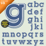 Vector illustration of an old fashioned alphabet. Vintage style. Background hatched Stock Photo