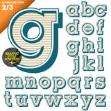 Vector illustration of an old fashioned alphabet. Vintage style. Beveled Ultra Stock Photos
