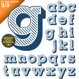 Vector illustration of an old fashioned alphabet. Vintage style. Blue hatched background Stock Photography