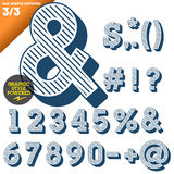 Vector illustration of an old fashioned alphabet. Vintage style. Blue hatched background Stock Image