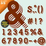 Vector illustration of an old fashioned alphabet. Vintage style. Brown layered Royalty Free Stock Photos