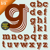 Vector illustration of an old fashioned alphabet. Vintage style. Brown layered Stock Photography