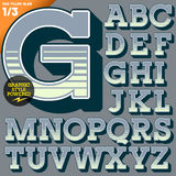 Vector illustration of an old fashioned alphabet. Vintage style. Deco filled Royalty Free Stock Image