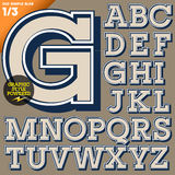 Vector illustration of an old fashioned alphabet. Vintage style. Simple outlined Royalty Free Stock Photo