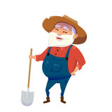 Vector illustration of old hipster smile farmer man Royalty Free Stock Photos