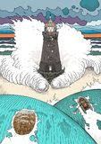 Stormy ocean landscape. Vector illustration with old lighthouse, storm waves and dramatic sky. People in lifeboat and turtle escape from natural disaster