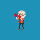 Vector illustration of old man with boxing gloves. Vector of old man with boxing gloves Stock Image