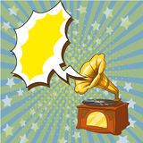 Vector illustration of old playing gramophone, retro pop art style. Royalty Free Stock Image