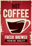 Vector illustration coffee shop retro vintage poster template tin sign with cup for cafe bar interior decoration. Royalty Free Illustration
