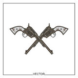 Vector illustration of old revolvers. Chicano style Royalty Free Stock Photo