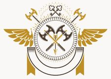 Vector illustration of old style heraldic emblem made with armor. Y Royalty Free Stock Images
