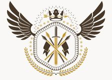 Vector illustration of old style heraldic emblem made with eagle. Wings, armory and monarch crown Royalty Free Stock Image