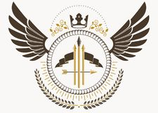 Vector illustration of old style heraldic emblem made with eagle. Wings, armory and royal crown Royalty Free Stock Photography