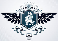 Vector illustration of old style heraldic emblem made with penta Royalty Free Stock Image